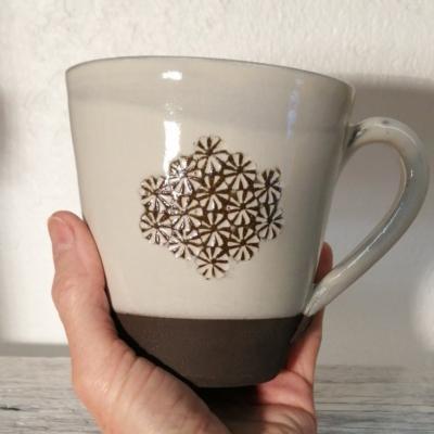 mug 35 cl noir et blanc - flocon