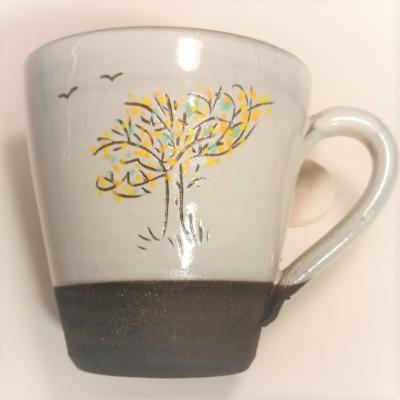grand mug 35 cl ,arbre jaune