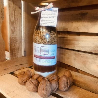 Prépartion pour Brownies aux noix de Savoie en bouteille