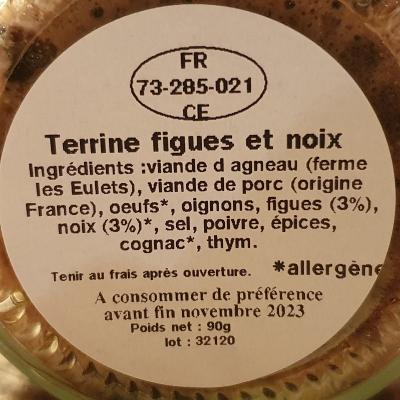 Terrine d'agneau aux figues et noix 90g